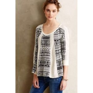 Anthropologie Lilka Geo Jacquard Swing Pullover